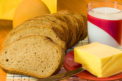 Brood, boter en melk Royalty-vrije Stock Fotografie