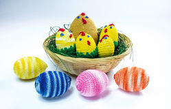 Brood of crochet chickens Royalty Free Stock Images