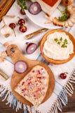 Brood dat met reuzel wordt uitgespreid Royalty-vrije Stock Foto's