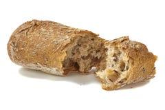 Brood dat op wit is gebarsten Royalty-vrije Stock Foto's