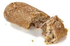 Brood dat op wit is gebarsten Stock Fotografie