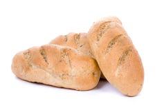 Brood, dat op wit wordt geïsoleerdv stock afbeelding