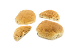 Brood in de Helft op Witte Achtergrond wordt gesneden die Royalty-vrije Stock Fotografie