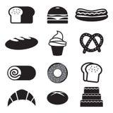 Brood en Bakkerijpictogramreeks Stock Foto