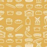 Brood en bakkerijproducten naadloos patroon Bakkerijpunten Stock Foto's