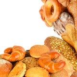 Brood en bakkerijproducten op wit worden ge?soleerd dat collage stock foto's