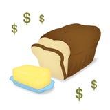 Brood en boter Stock Afbeeldingen