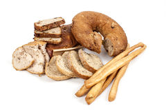 Brood en breadsticks geïsoleerd op witte achtergrond Royalty-vrije Stock Fotografie