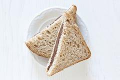 Brood en chocolade stock afbeeldingen