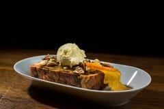 Brood en het boter puding met Roomijs Royalty-vrije Stock Afbeelding