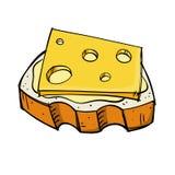 Brood en kaas stock illustratie