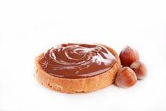 Brood en nutella Stock Foto's