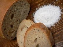 Brood en zout Royalty-vrije Stock Foto
