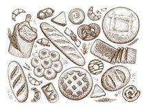 Brood, gebakken goederenschets Bakkerij, bakeshop, voedselconcept Uitstekende vectorillustratie vector illustratie