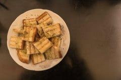 Brood geroosterde stukken royalty-vrije stock foto