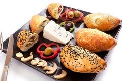 Brood Gevulde Paddestoel, Schimmelkaas en Pastram Stock Foto