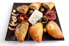 Brood Gevulde Paddestoel, Schimmelkaas en Pastram Royalty-vrije Stock Foto's