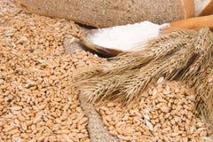 Brood, korrel en houten lepel bij het ontslaan stock afbeelding