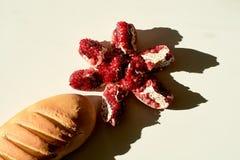 Brood lang brood en rijpe rode sappige granaatappel Het fruit van de korrelsgranaatappel Granaatappelbesnoeiing in de vorm van ee royalty-vrije stock afbeelding