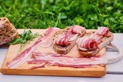 Brood met gastronomisch vlees stock afbeelding
