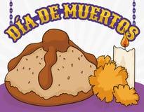 Brood met Goudsbloemen en Kaars voor & x22; Dia de Muertos & x22; Viering, Vectorillustratie stock illustratie