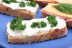 Brood met kaas Stock Afbeelding