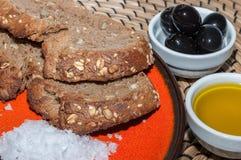 Brood met olijfolie Stock Afbeelding