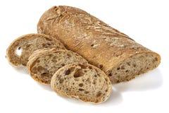 Brood met plakken op wit Stock Foto