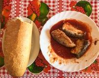 Brood met vissen en tomatensaus voor lunch Royalty-vrije Stock Fotografie