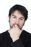 Brood. Portrait of a man with beard who brooding Royalty Free Stock Photo