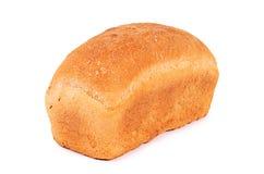 Brood van wit die brood op witte achtergrond wordt geïsoleerd Royalty-vrije Stock Foto's