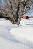 Brooder House. Snow surrounds a rural yard and old Brooder House in Rotterdam, New York Stock Image