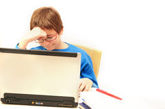 Brooding about homework Royalty Free Stock Images