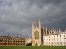 Brooding skies over Cambridge University. Dark skies contrast starkly with Kings College buildings of Cambridge University, England stock photo