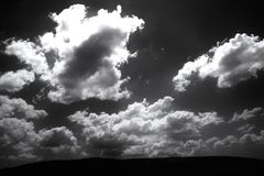 Brooding Sky. This photo was taken in Europe and edited to be in Black and White in order to convey a deeper feeling of the power / mysteries of nature Stock Photos