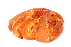 Broodje met een geïsoleerde chease. Stock Afbeeldingen