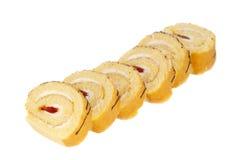 Broodje met geïsoleerdel room Stock Foto