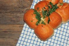 Broodje met knoflook stock afbeelding