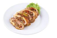 Broodje met vlees en paddestoelen Stock Afbeelding