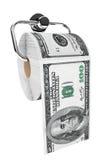 Broodje van 100 dollarsrekeningen als toiletpapier op chroomhouder Royalty-vrije Stock Afbeelding