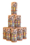 Broodje van 50 Euro bankbiljetten Stock Foto's