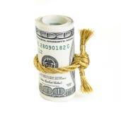 Broodje van honderd dollarsrekeningen Stock Foto's
