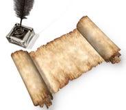 Broodje van perkament dat op het witte 3D nog-leven wordt geïsoleerd Stock Foto's