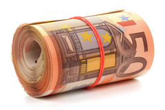 Broodje van vijftig euro bankbiljetten. Stock Foto