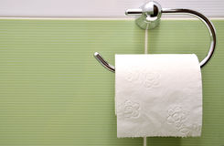 Broodje van wit toiletpapier op metaaldocument houder Royalty-vrije Stock Fotografie