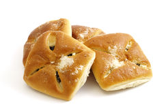 Broodjes die met fruitjam worden gevuld stock afbeeldingen
