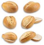 Broodjes die op witte achtergrond worden geïsoleerdl Stock Afbeeldingen