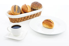 Broodjes en koffie Royalty-vrije Stock Afbeelding