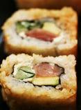 Broodjes met garnalen, krab en avocado Stock Afbeeldingen