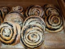 Broodjes met papaverzaden en gepoederde suiker Stock Afbeeldingen